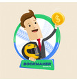 bookmaker man with helmet and money motor sports vector image vector image