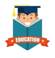 boy student graduation distance e-learning graphic vector image vector image