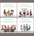 business meeting banners with people around table vector image