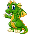 cartoon baby dragon presenting vector image vector image
