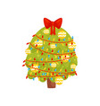 christmas tree with lights balls and bow on top vector image