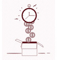 chronometer timer with coins and box vector image vector image