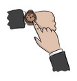 close-up hand of businessman pointing watch vector image vector image