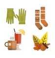 Collection of autumn clothes items vector image