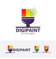 digital paint logo design vector image vector image