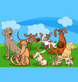 dog characters group cartoon vector image vector image