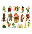 fairy tale forest characters set vector image