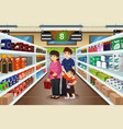 family shopping together vector image vector image