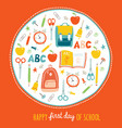 first day of school background card concept vector image vector image