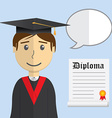 Flat design modern of student in graduation gown vector image