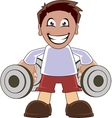 Funny man lifting dumbbells vector image