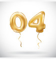 golden number 04 zero four metallic balloon party vector image vector image