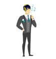 groom listening to music in headphones vector image vector image