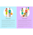 happy family icon in cartoon style banner vector image vector image