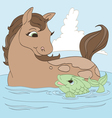 Horse and Fish Friend vector image vector image