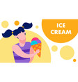 ice cream text and happy cartoon girl flat banner vector image