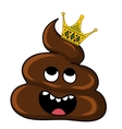 image of brown Shit with crown Cartoon and vector image