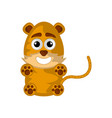 isolated cute happy tiger on white background vector image vector image