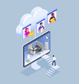 isometric remote work concept vector image vector image
