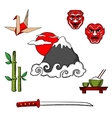 Japan travel icons and objects vector image vector image
