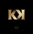 k and k gold letters double monogram vector image vector image