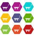 market trolley icons set 9 vector image vector image