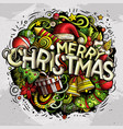 merry christmas hand drawn doodles vector image vector image