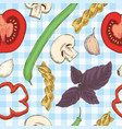 pasta beans herbs and tomatoes seamless pattern vector image