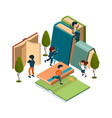 reading concept isometric books reading people vector image vector image