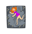 redhead young woman sleeping in her bed girl vector image vector image