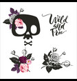 set cute cartoon skull decorated with rose vector image