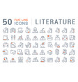 set line icons literature vector image