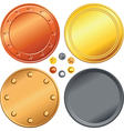 Set of gold silver bronze money coins vector image vector image