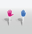 Sticker with two hands vector image vector image