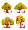 tree houses with children set vector image