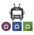 trolleybus icon in different variants with long vector image vector image
