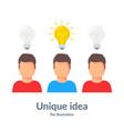 unique idea person with a light bulb head vector image vector image