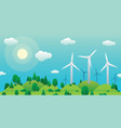 wind turbines on green hill and summer green vector image vector image