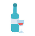 wine bottle and cup drink alcohol isolated design vector image