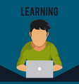 young man with learning laptop vector image vector image