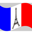 France flag with Eiffel tower vector image