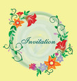 invitation with flower ornament yellow vector image