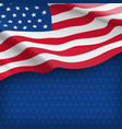 american striped flag on starry blue background vector image