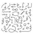 arrow set in sketch style arrows icon drawing vector image vector image