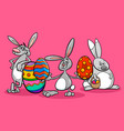 bunnies and easter eggs cartoon vector image