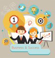 Businessman Male and Female Show Presentation vector image