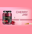 cherry jam realistic mock up product placement vector image vector image
