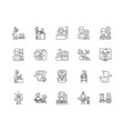 child care agency line icons signs set vector image