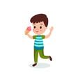 cute boy eating ice cream cartoon vector image