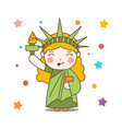 cute cartoon liberty girl mascot united state vector image